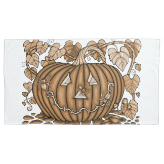 Gold Spidery Pumpkin Pillowcase
