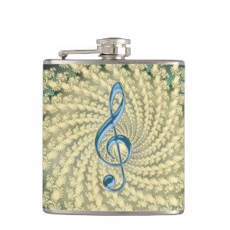 Gold Spiral Fractal Musical Clef Fantasy Flask