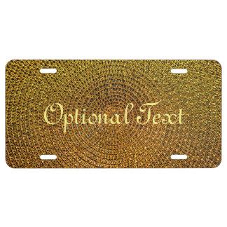 Gold Spiral Pattern License Plate