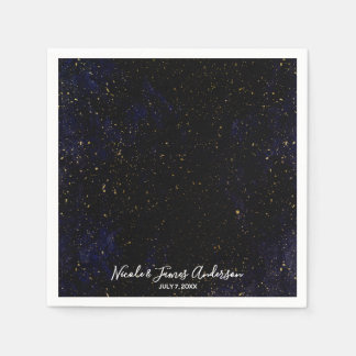 Gold Splatter Modern Chic Purple Blue Cosmic Party Disposable Napkins