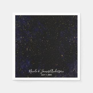 Gold Splatter Modern Chic Purple Blue Cosmic Party Paper Napkin