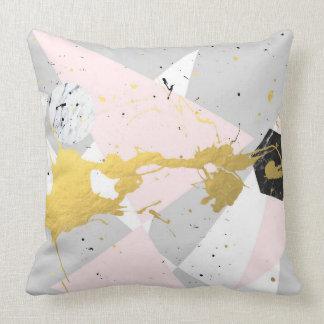 Gold Splatter Throw Pillow