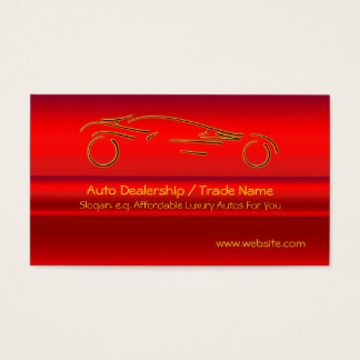Gold Sports Auto on red metallic-look effect Business Card