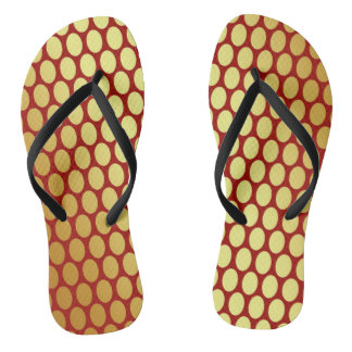 Gold Spots On Red Flip Flops