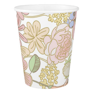 Gold Spring floral party paper cups