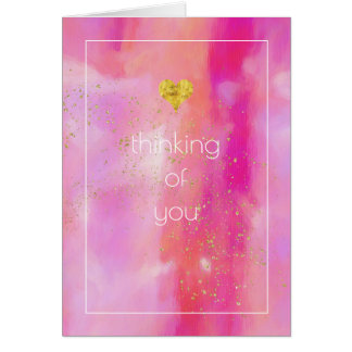 Gold Sprinkled Pink Abstract Thinking of You Card