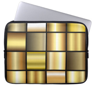 Gold Square Pattern Print Collage Laptop Sleeve