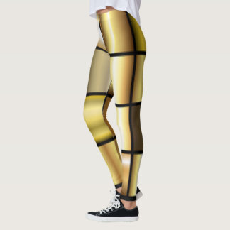 Gold Square Pattern Print Collage Leggings