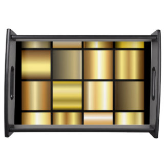 Gold Square Pattern Print Collage Serving Tray