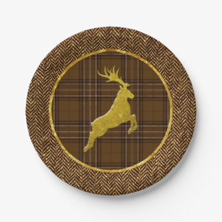 Gold Stag Plaid and Herringbone Paper Plate