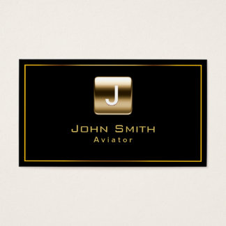 Gold Stamp Aviator Dark Business Card
