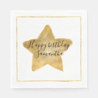 Gold Star Birthday Paper Napkin
