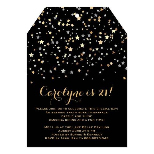 Gold Star Confetti Formal Birthday Party Custom Card