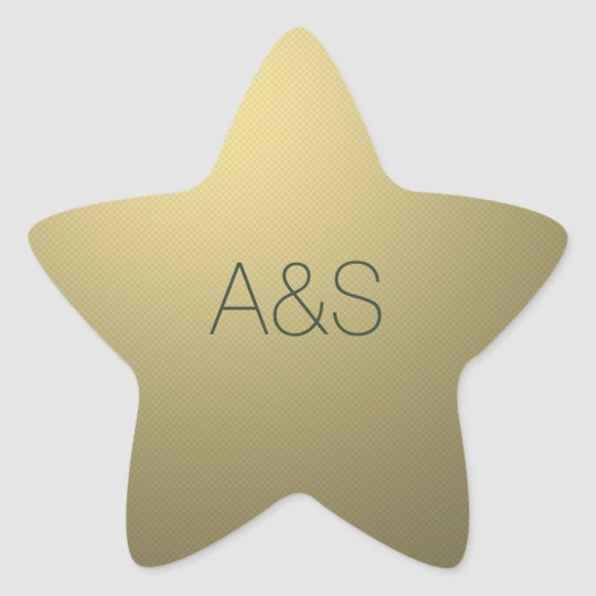 Gold Star Corporate Business Holiday Monogram Star Sticker