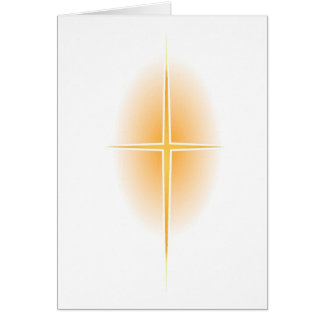 Gold Star Cross with Glow Greeting Card