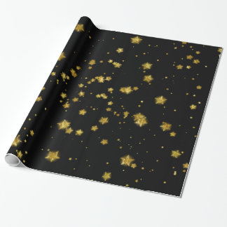 Gold Star Faux Foil Sequin Background Stars Design Wrapping Paper