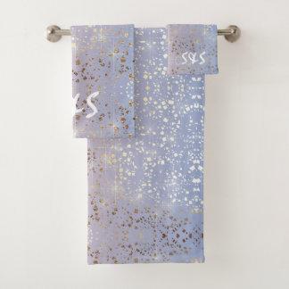 Gold Star Foil Sparkle Rose Quartz Serenity Blue Bath Towel Set