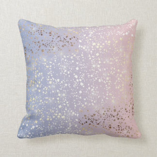 Gold Star Foil Sparkle Rose Quartz Serenity Blue Throw Pillow