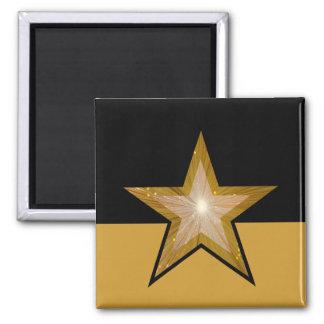 """Gold"" Star fridge magnet square black gold"