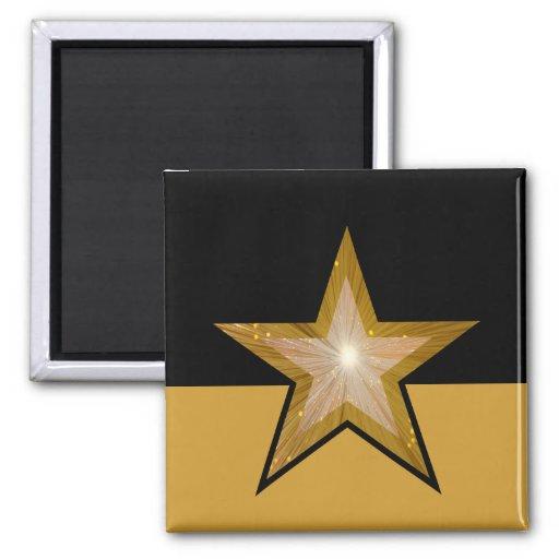 """""""Gold"""" Star fridge magnet square black gold Fridge Magnets"""
