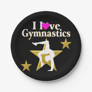 GOLD STAR GYMNAST PAPER PLATE
