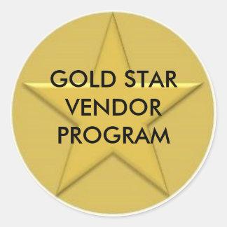 Gold Star Logo, GOLD STAR VENDOR PROGRAM Round Sticker