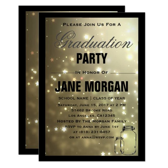 Gold Star Mason Jar Graduation Party Invitation