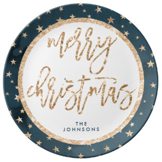 Gold Star Merry Christmas Porcelain Plate Midnight