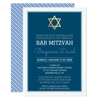 GOLD STAR OF DAVID bar mitzvah modern simple blue Card