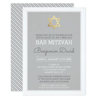 GOLD STAR OF DAVID bar mitzvah modern simple grey Card
