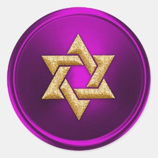 Gold Star of David Envelope Seal Round Sticker