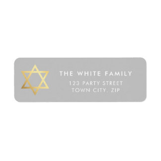 GOLD STAR OF DAVID modern plain simple gray white