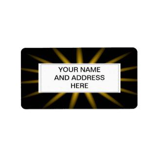 Gold star on black background custom address labels