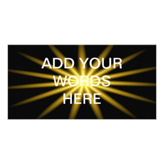 Gold star on black background photo greeting card