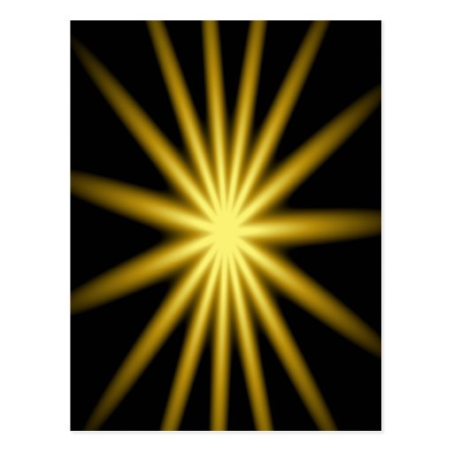 Gold star on black background post card