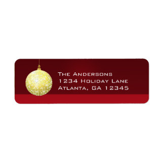 Gold Star Ornament Christmas Labels