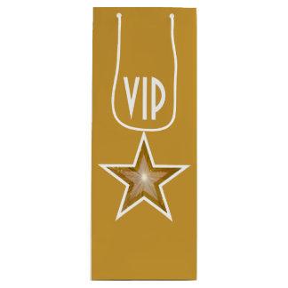 Gold Star print VIP gold gift bag wine