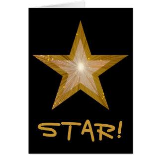 Gold Star 'STAR!' 'Thank you' card black vertical