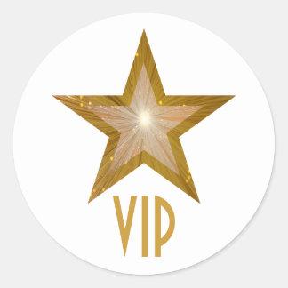 """""""Gold"""" Star VIP round sticker white"""