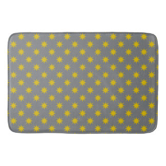 Gold Star with Grey Background Bathroom Mat