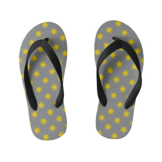 Gold Star with Grey Background Kid's Flip Flops