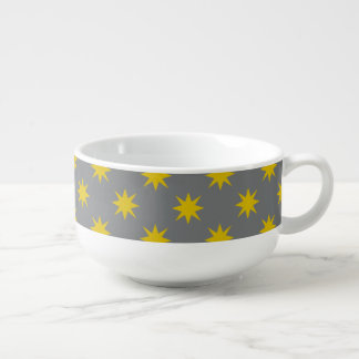 Gold Star with Grey Background Soup Mug