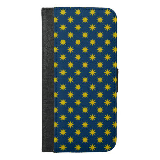 Gold Star with Navy Background iPhone 6/6s Plus Wallet Case