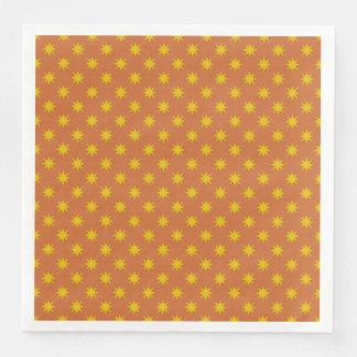 Gold Star with Orange Background Paper Napkin
