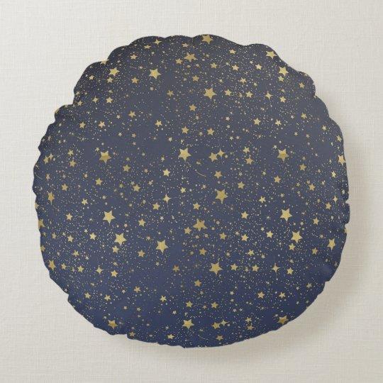 Gold Stardust Stars Round Pillow
