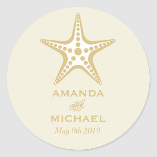 Gold Starfish Beach Wedding Stickers