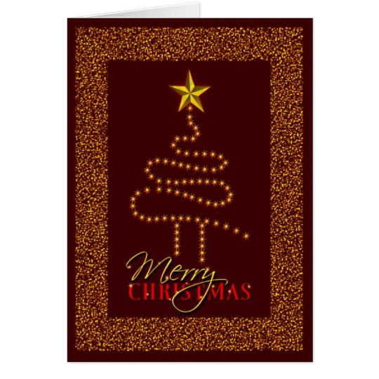 Gold Stars Abstract Christmas Tree Custom Dark Red Card