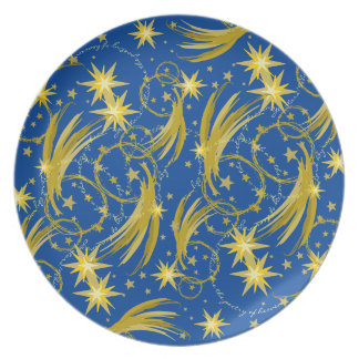 Gold Stars and Comets Space Galaxy Melamine Plate
