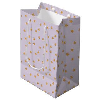 Gold Stars and Lilac Medium Gift Bag