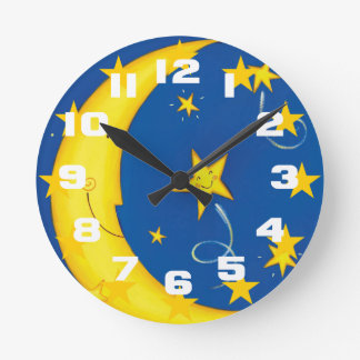 Gold Stars And Moon Round Clock